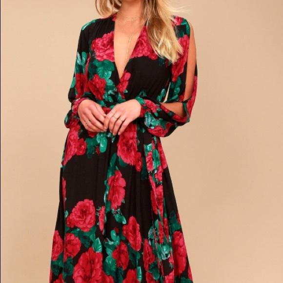 78b3be10fa707 Lulu's Dresses | Lulus Strike A Rose Black Print Maxi Dress Xl ...